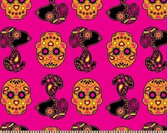 Peanuts Snoopy Sugar Skulls Toss on Hot Pink Cotton Fabric sold by the yard and by the half yard