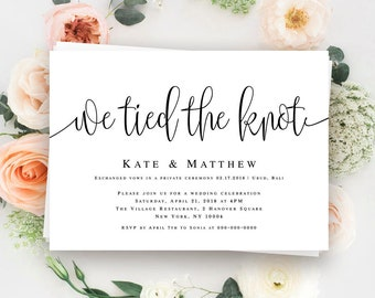 Perfect We Tied The Knot Invitation Elopement Invitation Template Elopement  Announcement Post Wedding Reception Invitation Elope Card Download #vm41