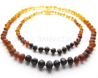 Raw Unpolished Baltic Amber Teething Set for Baby and Mommy Rainbow Color Rounded Beads