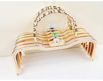 1 PCS, 27cm / 10.6 inch Elegant Golden Kiss Clasp Lock Purse Frame for Bag Purse with Kisslock Handle