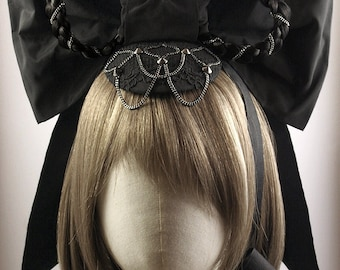 Early Victorian Style Black Fascinator with Hair Braids & an Oversized Bow