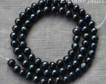 Near Round pearl Large hole pearl Freshwater pearls Loose pearls Potato pearl necklace pearl 5.5-6mm Black Full Strand PL2113