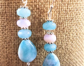 Gemstone Earrings: Chalcedony and  Mountain Jade, with Larimar Teardrops and Silver Fittings