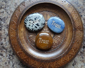 TRUST ~ Carved Worry Stone Gemstone Affirmation Wiccan Pagan Metaphysical for Jewelry or Crafts