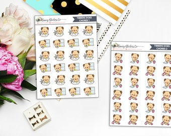 Tibbers Does Chores | Pug Cleaning Planner Stickers
