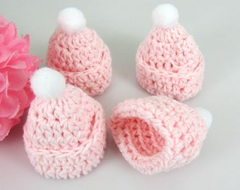 3 mini Pom Pom crocheted baby girl pink christening bonnet