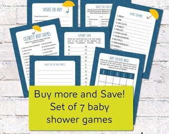 Set of Baby Shower Games. Sprinkle/Rain Theme Baby Shower Games/Activities. 7 Games: Wishes for Baby, Bingo, Celebrity *DIGITAL DOWNLOAD*