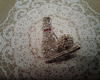 MidCentury Rhinestone Bowling Themed Brooch with Ball and Pin