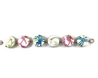 Vintage Button Bracelet, Vintage Embroidery, Covered Buttons, Spring Bracelet, Easter Bracelet, Pink, Blue Yellow, Hostess Gift,Gift for Her