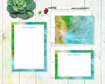 complete personalized stationery set - ABSTRACT ART 3 - letter writing set - note cards - notepad - stationary
