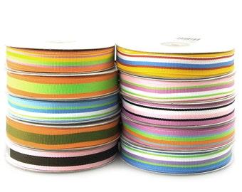 Rainbow Striped Grosgrain Ribbon, 5/8-inch, 25-yard