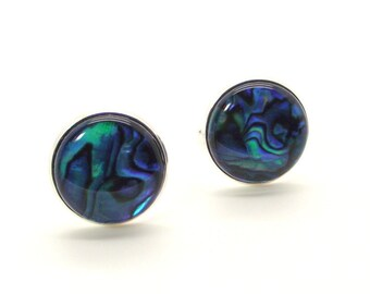 Paua Shell Cuff Links – Deep Blue Sea Paua Shell Cuff Links - Blue Cuff Links