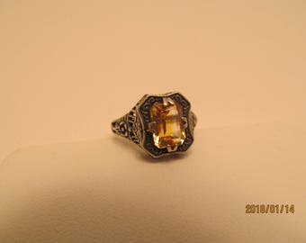Vintage antique white gold topaz
