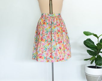 Garden Party skirt - handmade cotton skirt with side pockets, size 14