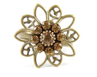 Topaz Ring, Vintage Swarovski Crystal Flower, Adjustable Antique Brass Floral Ring