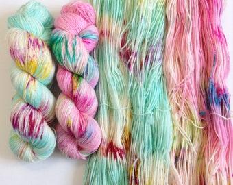Unicorns Meet Mermaids Set of 2 skeins. Hand Dyed Speckled 2-skein yarn set.Super Soft luxury 100% Extrafine Merino. fingering weight.