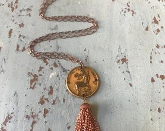 Virgo Vintage Coin Horoscope Zodiac Sign August September Tassel Copper