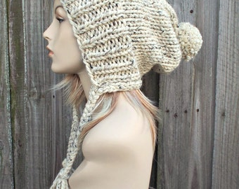 Tweed Oatmeal Slouchy Ear Flap Hat With Pom Pom - Knit Womens Winter Beanie - Charlotte