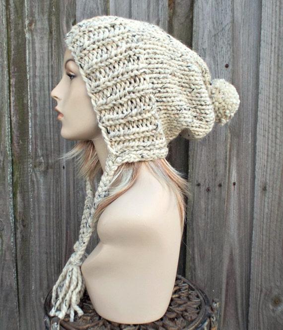 Tweed Oatmeal Slouchy Ear Flap Hat With Pom Pom Knit Womens