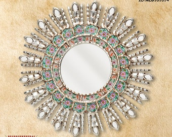"Silver Decorative Mirrors 17.7"" - Mirror Cuzco style ""Turquoise Sunburst II""- Home Decor wall mirrors -  Mirror wall decor - Peruvian Mirror"