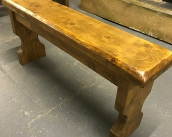 Wooden Antique pine bench hand made rustic