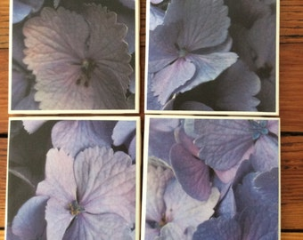 Purple Flower Tile Coasters- Set of Four