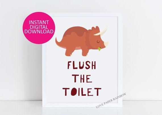 flush the toilet print, flush the toilet print, toilet sign, kids bathroom sign, kids bathroom print, dinosaur bathroom rules, kids toilet