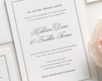 Simply Classic Letterpress Wedding Invitations - Deposit