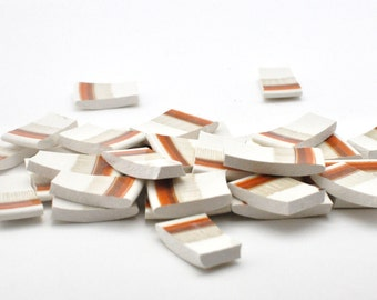 Broken China Mosaic Tiles - Recycled Plates - Light Brown and Orange Border - Set of 30