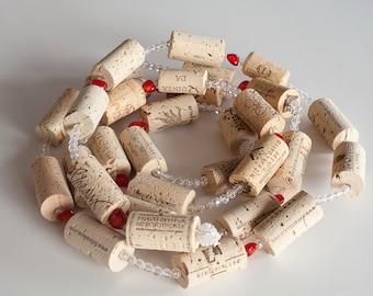 Christmas Garland,  Wine Cork Garland, Christmas Decor, Garland, Heart  Decoration, Wine Gift, Wine Themed Gift