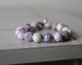 Faceted Flower Amethyst for Sound Sleep + Mental Clarity Beaded Bracelet