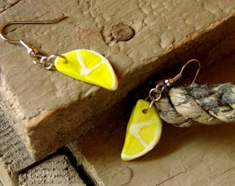 Miniature Glass Lemon Slice Earrings - Lovely Lemon Danglies