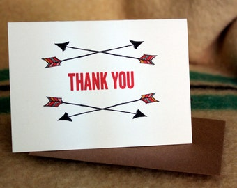 Arrows folded Thank You cards-set of 10