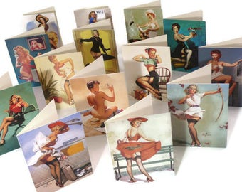 Greeting Card Set, Pin Up Notecards, Upcycled Calendar Girls. 14 Mini Cream Cards with Envelopes in a Kraft Gift Box