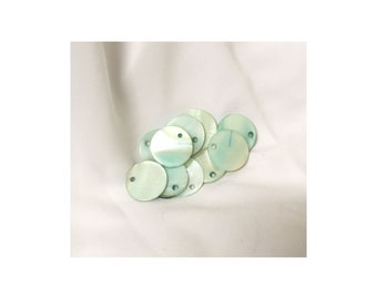 Blue Mother of Pearl 18mm Flat beads
