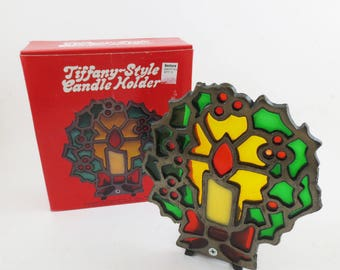 Vintage Christmas Candle Holder Faux Stained Glass Holiday Retro in Box 70s Candleholder