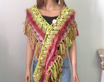 Hand Knit Cotton Eternity Scarf  Hawl Wrap Cowl Spring Summer Designer Bohemian Roses Lime Green Burgundy Peach Hip Êtxtra Long