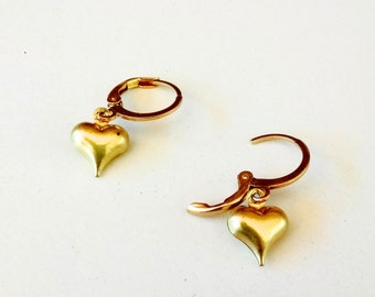Raw Brass Puffed Heart Dangle Earring on Round Leverback
