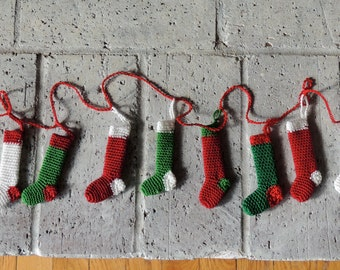 Christmas Stocking Garland in Red, Green, and White