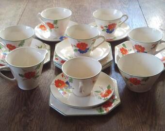 Art Deco 20 piece Hand Painted Tea Set Ceramic
