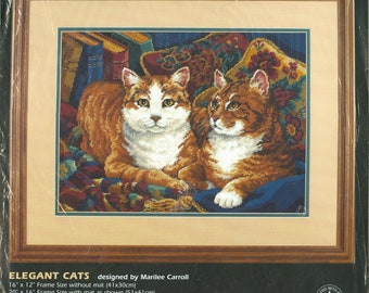 """1997 Elegant Cats NIP DIY Needlepoint Kit by Designer Marilee Carroll 16"""" x 12"""" Frame size without mat - Dimensions Kit 2454"""