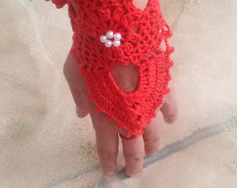 Bridal Red Crochet Lace Gloves, Arm Cuff, Romantic Fingerless gloves, Hand jewelry, Victorian, Bracelet, Wedding gloves, lace glove