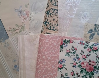 Beautiful Vintage Wallpaper Scrap Pack | Pinks and Blues | Floral French Boudoir | Paper Pack | Samples | LAST ONES