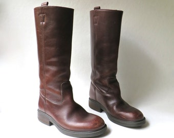 90s vintage J. Crew Tall Brown Leather Riding Boots / made in Italy