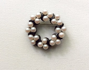 Beautiful Faux Pearl Circle Pin with Enameled Accents