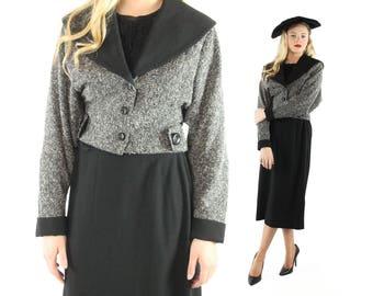 1940s Suit Cropped Jacket Midi Skirt Fred A Block Salt Pepper Black Wool Shawl Collar Nipped Waist Vintage 40's Medium M