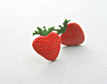 Strawberry Stud Earrings Fruit earrings, food earrings, strawberry patch