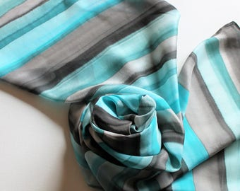 Hand Painted Silk Scarf - Handpainted Scarves Turquoise Blue Aqua Teal Green Black Gray Grey Stripes