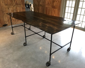 Live Edge Dining/catering Table With Casters