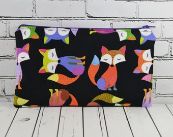 Fox Pencil Case, Fox Bag, Orange Fox, Woodland, School Supplies, Small Makeup Bag.